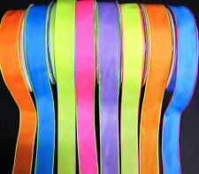 "Sherbert Colorful Neon Solid Ribbon 7/8""wide - Orange Blue Yellow Pink Purple"