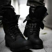Retro Mens Motorcycle Punk Lace-Up Combat Boots Military Tactical Army Boots UK