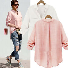 New Womens Fashion Loose Casual Linen Buttons Long Sleeve Shirt Tops Blouse