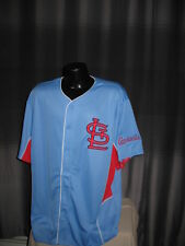 MLB St Louis Cardinals Cooperstown Throwback Blue Jersey Majestic Nwt Mens