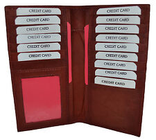 Mens Bifold Wallet Long Leather Purse Cash Credit Cards Check Book Holder