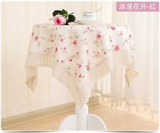 60 70 90'' Ribbon Embroidery Tea Table Cloth Art Rural Round Table Cloth Cover