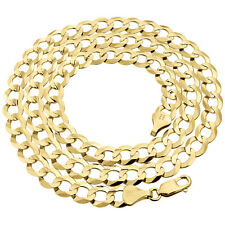 Mens Solid 10K Yellow Gold Cuban Curb Link Chain Necklace 8.5 MM 20-30 Inches