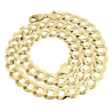 Real 10K Yellow Gold Chiseled 13MM Curb Cuban Link Style Chain Necklace 20-30""