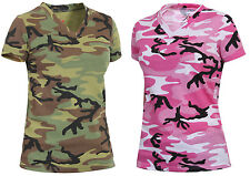 womens camo t-shirt v neck longer length camouflage shirt rothco 5654