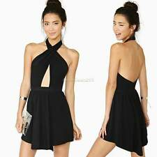 Women Ladies Sexy Halter Neck Backless Bodycon Mini Dress Party Cocktail Dress