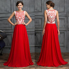 RED Chiffon Bridesmaid Long prom dresses Formal Evening Gown 2 4 6 8 10 12 14 16