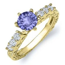 1.20 Ct Round Blue Tanzanite 18K Yellow Gold Plated Silver Ring