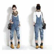 Womens Cute Fashion Jumpsuit Romper Overall Jean Frayed Denim Washed Casual Pant