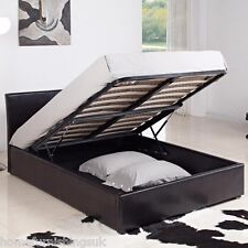 Harmony Beds Milan PU Leather Ottoman Bedstead - Black/Brown + Mattress Options