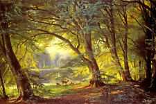 THE DEER PARK FOREST LANDSCAPE DANISH PAINTING BY CARL AAGAARD REPRO