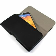 For Sony Premium Black Faux Leather Horizontal Pouch Belt Clip Carrying Case