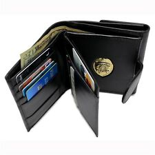 Womens Black Leather Wallet Mini Badge CWP EMT SEO PI Perfect Fit License Holder