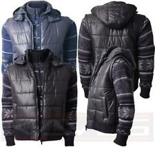 Mens Padded Quilted Jacket Hooded Gilet With Knitted Sleeves Dissident MJ19620
