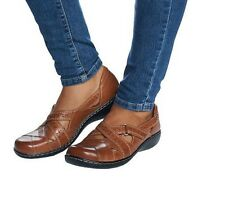 SU Clarks Bendables ASHLAND SPIN Leather Slip-on Sandals Shoes CHOICE QVC $72