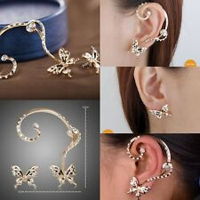 1 Pairs Chic Nice Women Butterfly Ear Cuff Clip Stud Crystal Rhinestone Earring