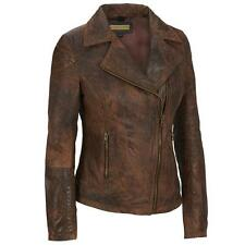Black Rivet Adult Asymmetric Zip Antique Leather Cycle Jacket