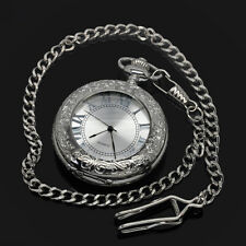 Silver Magnifier Glass For Dad Manual Winding Mens Mechanical Pocket Watch