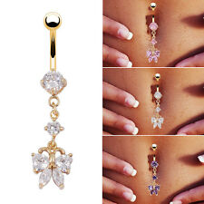 Surgical Steel Butterfly Crystal Rhinestone Navel Belly Button Bar Ring Jewelry