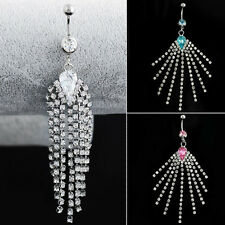 1PC Crystal Surgical Steel Navel Belly Button Bar Ring Long Tassel Piercing Gift