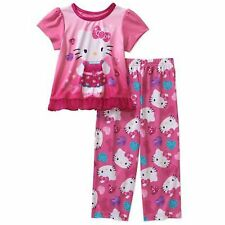 NEW  Girls Toddler Hello Kitty 2 Piece Pajamas Sleepwear Set Size Pink  5T