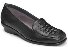 NEW Women's AEROSOLES ALABASTER Black Loafers Wedge Casual Slip On Dress Shoes