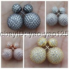 8mm - 14mm Cz Pave Crystal Front-Back Earrings