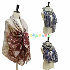 LADIES WOMEN CASHEW PRINT GRADIENT MIX COLOUR COTTON SCARF WRAP LADIES SHAWL