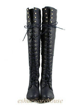 Navy Leatherette So Hip n Cool Urban Over the Knee Thigh High Lace Up Flat Boots
