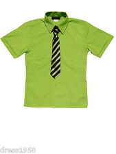 BOYS SUMMER SHORT SLEEVE DRESS SHIRT WITH TIE, LIME,SZ:4 to 14