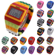 Colorful Block Brick Design Digital LED Children Unisex Wrist Watch Sport Watch