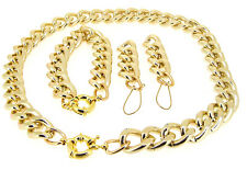 New Shiny Charm Cut Facet LIGHT GOLD Chunky Aluminium Curb Chain Necklace Br/set