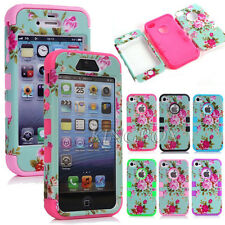 Peony Flower Floral Pattern Heavy Duty Hybrid Shockproof Case Cover For iPhone
