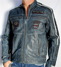 Affliction Black Premium - AMERICAN REBEL - Men's Leather Biker Jacket  - Blue