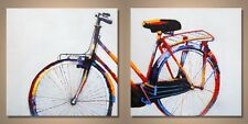 'Rainbow Bicycle' - Vintage Pop Art Palette Knife Oil Painting - Limited Edition