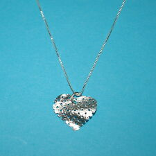 Sterling Silver 925 18mm Wavy MESH NET HEART Charm Pendant with Fine Box Chain