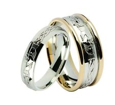 Solid 10ct White Gold Irish Celtic Claddagh Wedding Band Ring Made In Ireland
