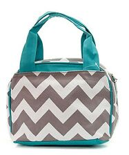 Gray Chevron with Aqua trim-Insulated Lunch Tote Bag- Cute Lunch Bag tote