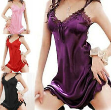 Sexy Sleepwear Nightgown Dress Women Satin Silk Babydoll Lace Robes Sleepshirt