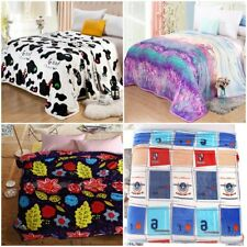 NEW Coral Fleece Blanket SINGLE DOUBLE QUEEN KING Size 11 Designs WARM SOFT THIN