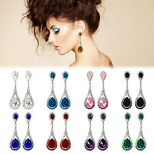 New Fashion Waterdrop Rhinestone Earring Dangle Hook Ear Stud Gift 1 Pair