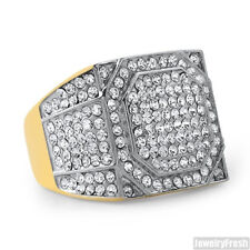 14K Gold IP Czech Crystal Mens Square Ring Two Tone Stainless Steel