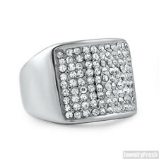 Stainless Steel Simple Silver No Tarnish Iced Out Mens Ring