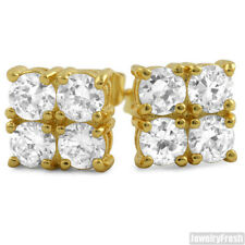 2.00 CTW Four Stone Cubic Zirconia Gold CZ Stud Earrings for Men