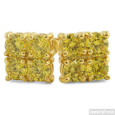 2.00 CTW Four Stone Gold Canary CZ Stud Earrings for Men