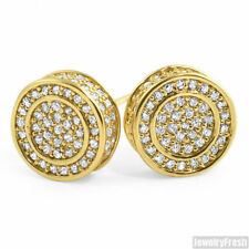 Iced Out Round Gold CZ Mens Stud Earrings Hand Made