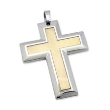 Contrast Finish Stainless Steel Unique Mens Cross Pendant
