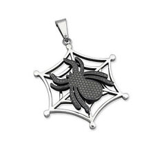 Silver Stainless Steel Spider Web Pendant