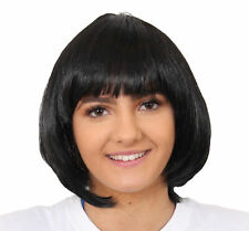 BLACK LADIES BOB WIG WITH FRINGE 1920'S FLAPPER FANCY DRESS BABE BULK WHOLESALE