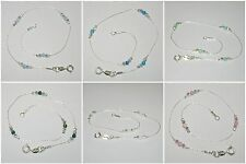 WHOLESALE LOTS Sterling Silver 925 Laser Cut & OPAL BEAD ANKLETS - Your size